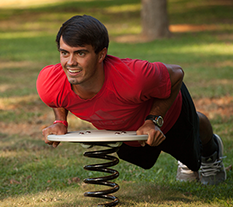 Man exercising on a Balance Board