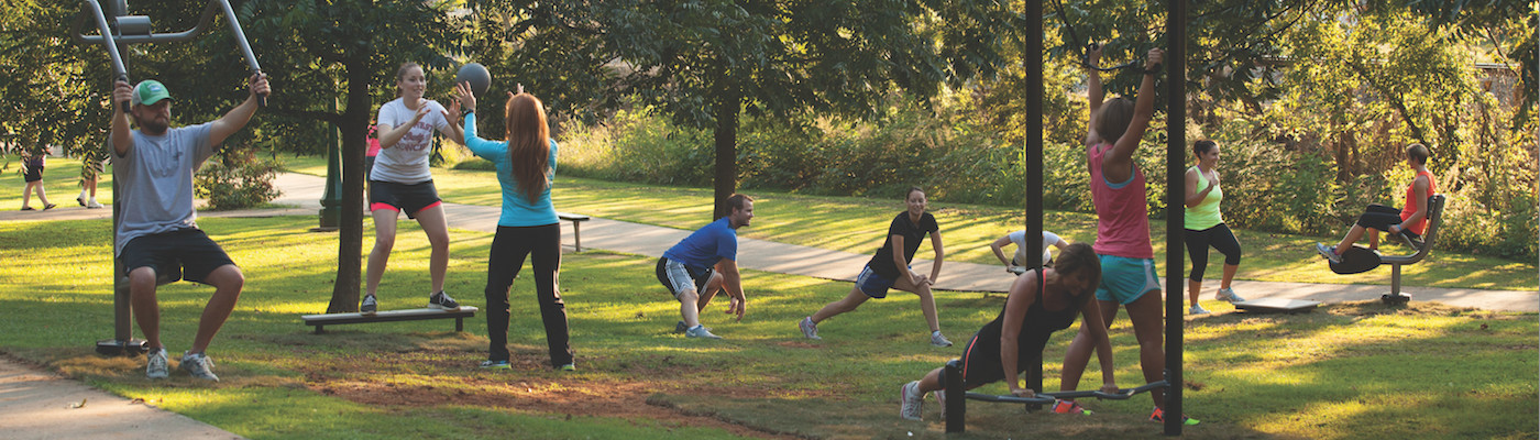 Outdoor Adult Fitness Parks - Adults Exercising