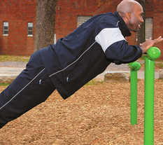Man Exercising on T Bar Fitness Park Equipment